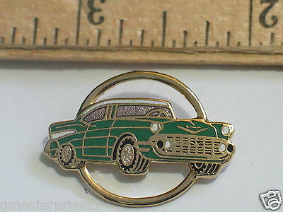 1957 Belair Chevrolet Pin Badge, Hat Tack,  Lapel Pin   Green Car