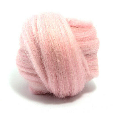 50g DYED MERINO WOOL TOP CANDYFLOSS LIGHT BABY PINK DREADS 64's SPINNING FELTING