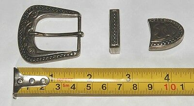 Vintage 70s western Style Belt Buckle Silver Finish 25mm 1 inch 3 piece Fitting