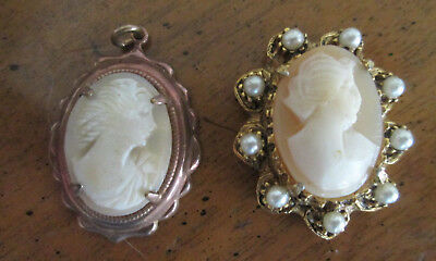 vintage   CREAM  SHELL  CAMEO  PENDANT