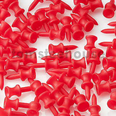 100 RED PLASTIC STEP CASTLE GOLF TEES (30mm Small) + Free Golf Ball Markers