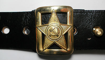 USSR Soviet Red Russian Army Military Commissar Officer Leather Belt Black