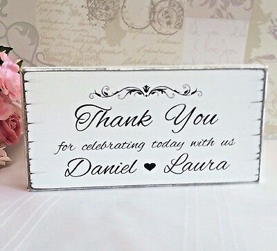 Wedding Signs Thank You Personalised  Free Standing  Shabby Vintage Chic