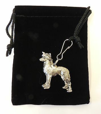 Chinese Crested Zip Pull in Silver, for Bags and Jackets