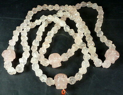 Huge Rose Quartz Crystal 112 Skull Prayer Bead Mala. Natural Untreated. Brazil