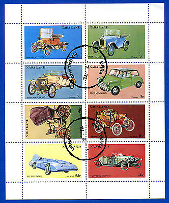 Nagaland  Of  India  -  Minisheet  Of  8  Different  Cars  Stamps  -  1972
