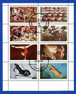 Nagaland  Of  India  -  Minisheet  Of  8  Different  Sports  Stamps  -  1976