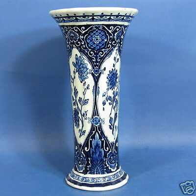 "f124: FLOWERS on 12½"" DELFT BLUE TRUMPET VASE by BOCH"