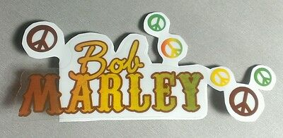 LOT OF 7 pcs 1 NAME/6 PEACE SIGNS BOB MARLEY CLEAR SEE THROUGH CASE AMP STICKER