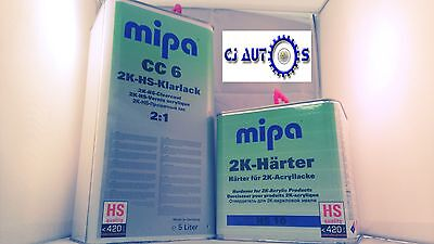High Quality Gloss 2K Lacquer Clear Coat Kit Mipa Cc6 5L Hs Fast Hardener 2.5L