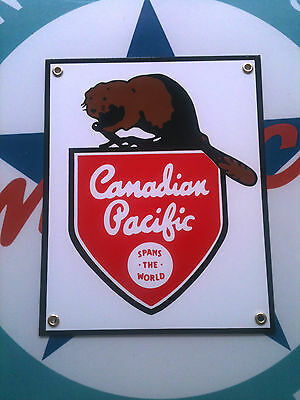 CANADIAN PACIFIC RAILROAD - PORCELAIN COATED SIGN - includes magnet