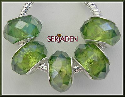 5 Grass Green AB Faceted Crystal Style Bead for Charm Bracelet Ship from USA B34