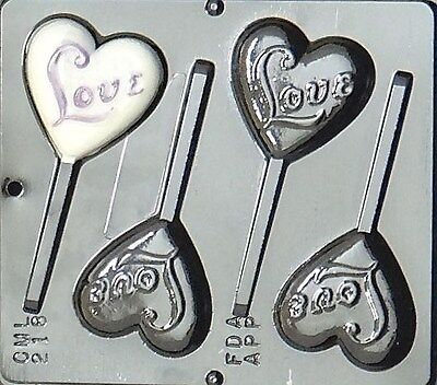 """""""Love"""" on Heart Lollipop Chocolate Candy Mold Valentine  218 NEW"""