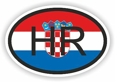 Oval Flag With Hr Croatia Country Code Sticker Car Motocycle Auto Truck