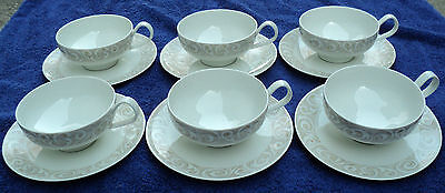 6 MID-CENTURY MODERN 1960s IROQUOIS CHINA BAROQUE FLAT CUP & SAUCER SETS SEIBEL