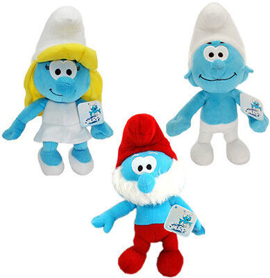 "3D Movie The Smurfs 9"" Deluxe Plush Toy Papa boy Smurfette Smurf Doll Set 3-x US"