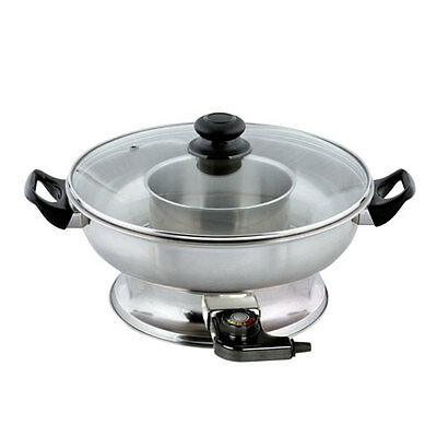 New Electric Multi-cooker 2 Circle Hot Pot 4.2L 1600W Dia30cm 4x Forks & Scoops