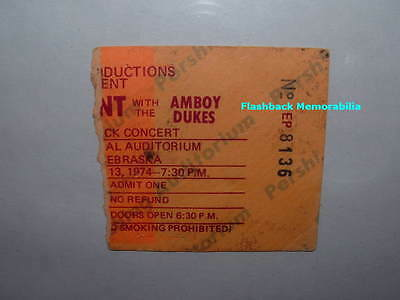 TED NUGENT & AMBOY DUKES Concert Ticket Stub 1974 LINCOLN NE PERSHING Very Rare