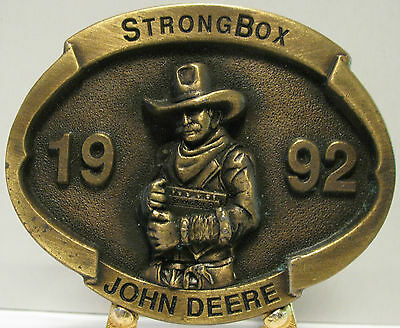 John Deere Strong Box 1992 Limited Edition Belt Buckle #2202 Moline IL cowboy