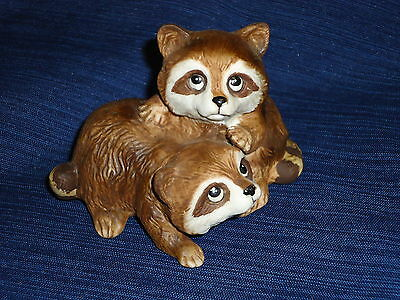 Adorable HOMCO Home Interior RACCOONS FIGURINE #1454