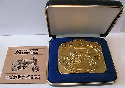 John Deere Model A Tractor Belt Buckle 24K Gold Plated Limited Edition 1826/6000