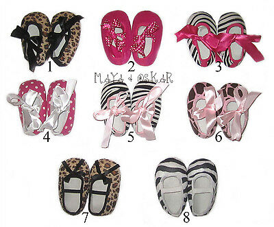 Cute Baby Girl Toddler Pram Crib Shoes Prewalker Pumps Zebra Leopard 9-12 m NEW