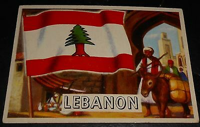 1956 Topps Trading Cards Flags of the World #33 LEBANON