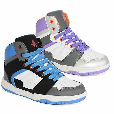 Boys Ankle Hi High Tops Trainers Girls Dance Baseball School Boots Shoes Sizes