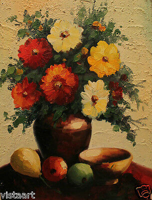 Oil Painting On Stretched Canvas 12x 16 Flower Vase 4000