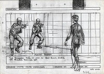 SUPERMAN II PRODUCTION STORY BOARD - SOLDIERS FIRE AT URSA from Sarah Douglas