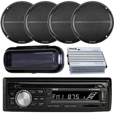 """New Marine Boat SD USB Stereo +Wireless Bluetooth 4 6.5"""" Speakers 800W Amp Cover"""