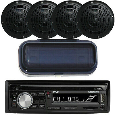 Marine Boat Yacht USB Stereo & Wireless Bluetooth & 4 Speakers /Cover