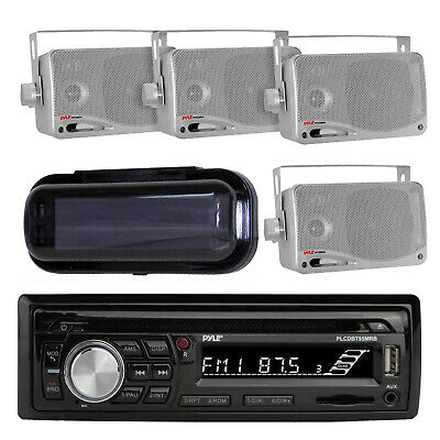 Marine Boat MP3 AM/FM Radio System & Bluetooth 4 New Silver Box Speakers & Cover