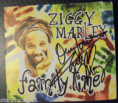 """Ziggy Marley Signed """"family Time"""" Cd And Signed Insert Page"""