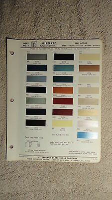 Ditzler Paint Chip Charts - 1967 Dodge
