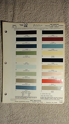 Ditzler Paint Chip Charts - 1968 Mercury