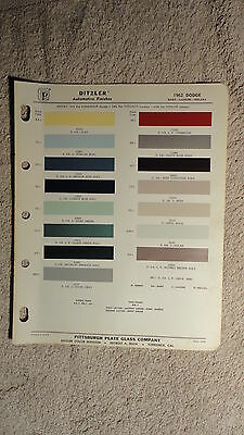 Ditzler Paint Chip Charts - 1962 Dodge