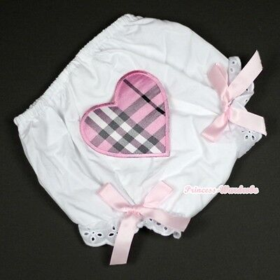 Pure White Bloomer Pantie Light Pink Plaid Heart with Light Pink Bow 6m-3Year