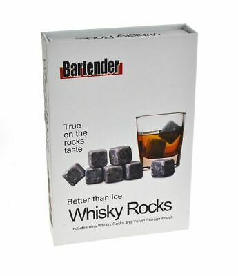 WHISKEY STONES GIFT BOXED SET OF 9 Scotch Rock Drink Chill Bar Shot Ice Whisky