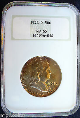 1958-D Franklin Silver Half Dollar, NGC MS 65, Gorgeous toning!