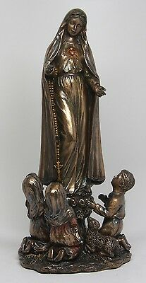 "OUR LADY OF FATIMA FIGURINE BRONZELIKE STATUE 10""H VIRGIN MARY CHILDREN PORTUGAL"