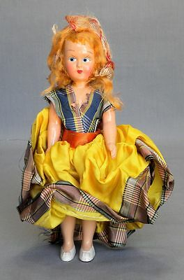 "Vtg Ethnic Articulated German Celluloid Painted Eye Doll 7 1/2"" All Original"