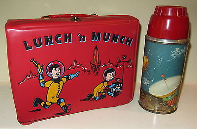 1959 Vinyl Lunch-N-Munch Space Lunchbox & Thermos : Outer-Space