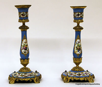French Bronze Mounted Sevres Style Porcelain Candelabrums