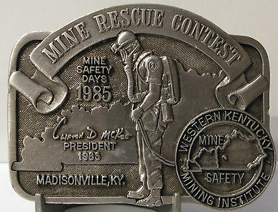 Western Kentucky Mining Institute Coal Mine Rescue Contest 1985 Belt Buckle LE