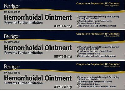Perrigo Hemorrhoid Hemorrhoidal Ointment 2oz Tube -3 Pack (3 Tubes) -Exp 04-2019