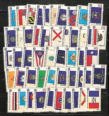 1976 #1633-1682 Bicentennial State Flags 50 Singles Mint NH