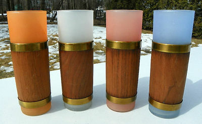 4 VINTAGE MID CENTURY LIBBY FROSTED WRAPPED TUMBLERS