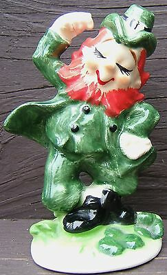 Vintage LEFTON St. Patrick's Day JIGGING DANCING LEPRECHAUN Ceramic Figurine