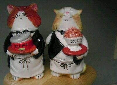 Cat waiters salt and pepper shakers